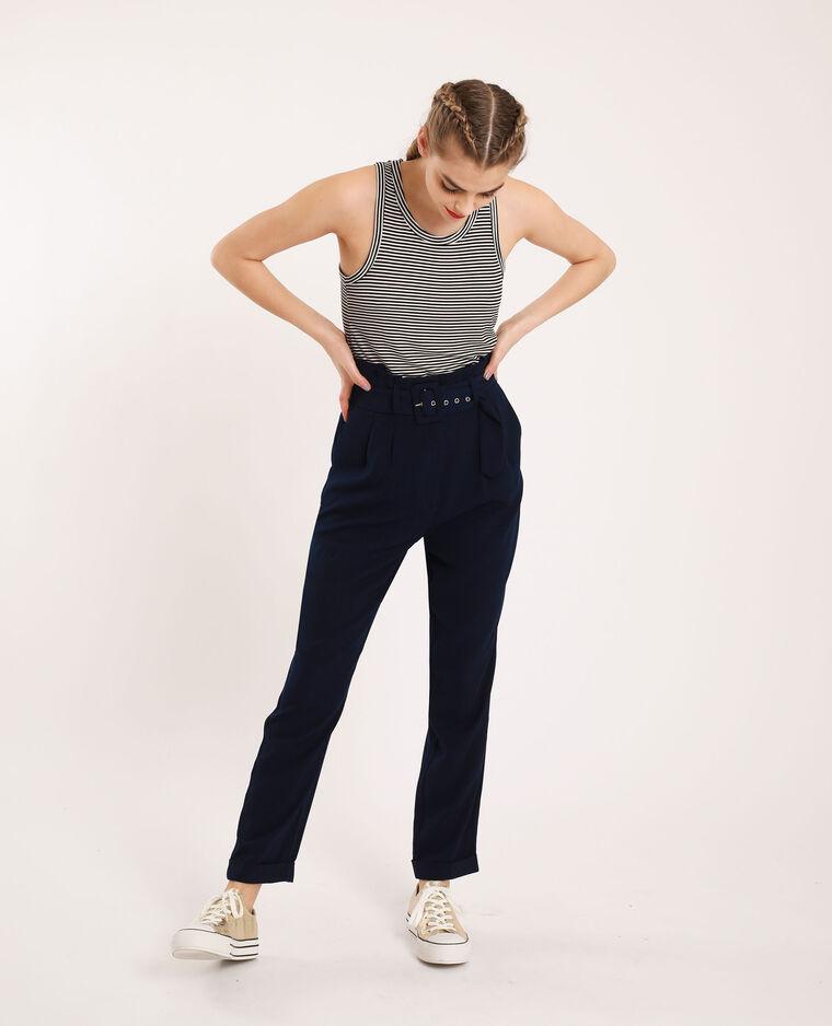 Pantalon fluide bleu marine