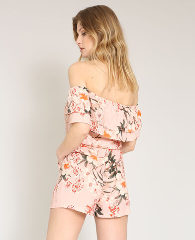 Playsuit met ruches roze