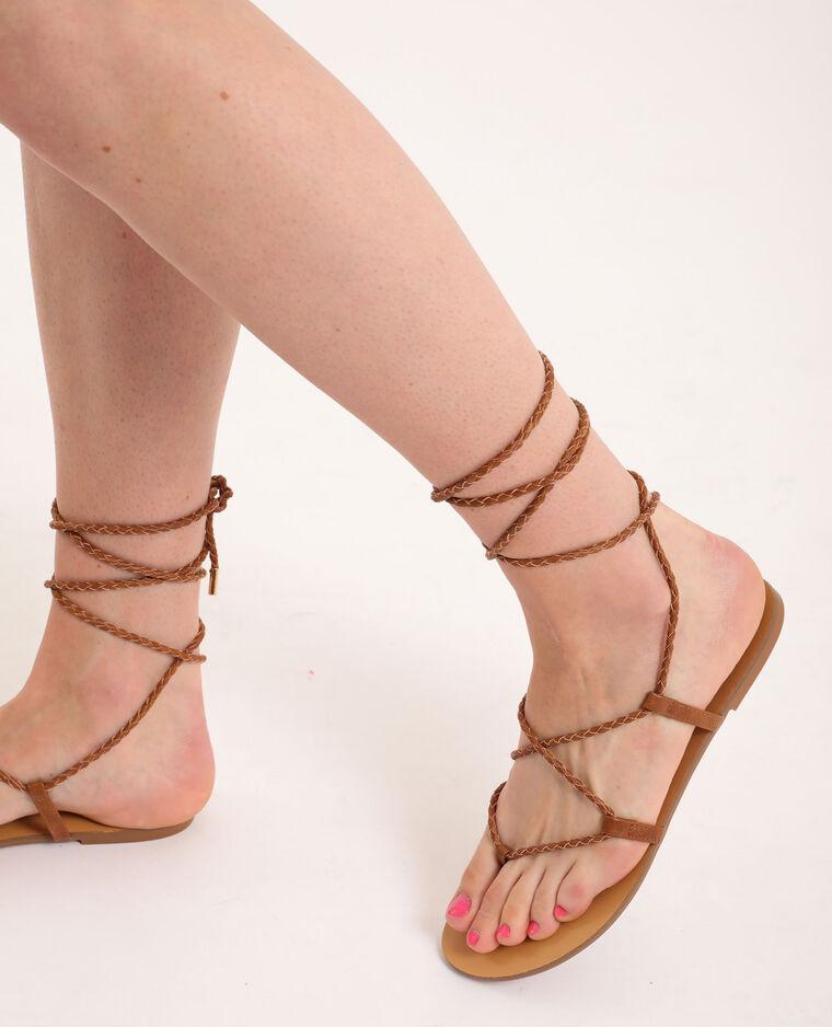 Platte gevlochten sandalen kastanjebruin