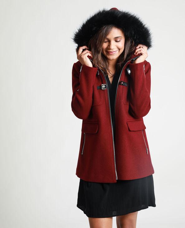Manteau à capuche bordeaux