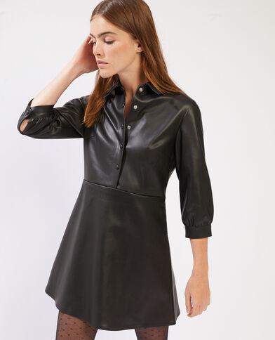 Korte jurk van kunstleer zwart - Pimkie