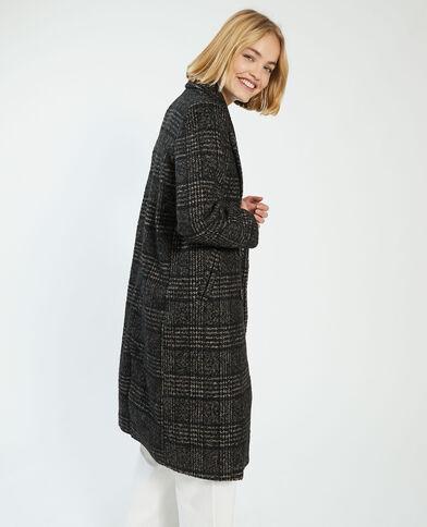 Manteau long à motif pied-de-poule avec laine marron - Pimkie