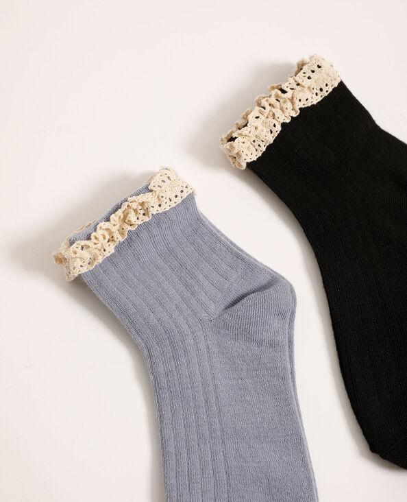 Lot de 2 paires de chaussettes détail crochet bleu - Pimkie