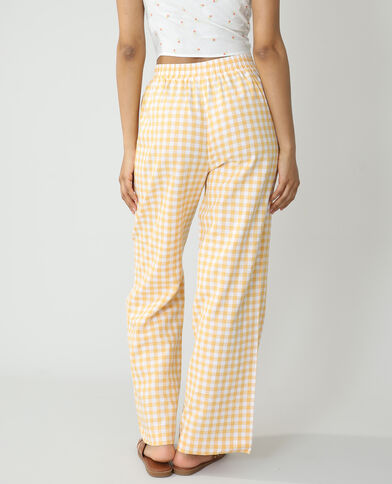 Wide legs broek met vichyruitjes oranje - Pimkie