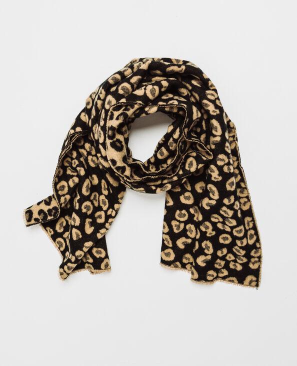 Sjaal met luipaardprint zwart
