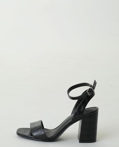 Sandales à talons effet croco noir - Pimkie
