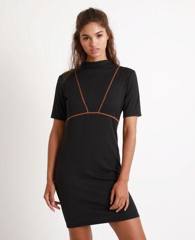 Tweekleurige jurk zwart
