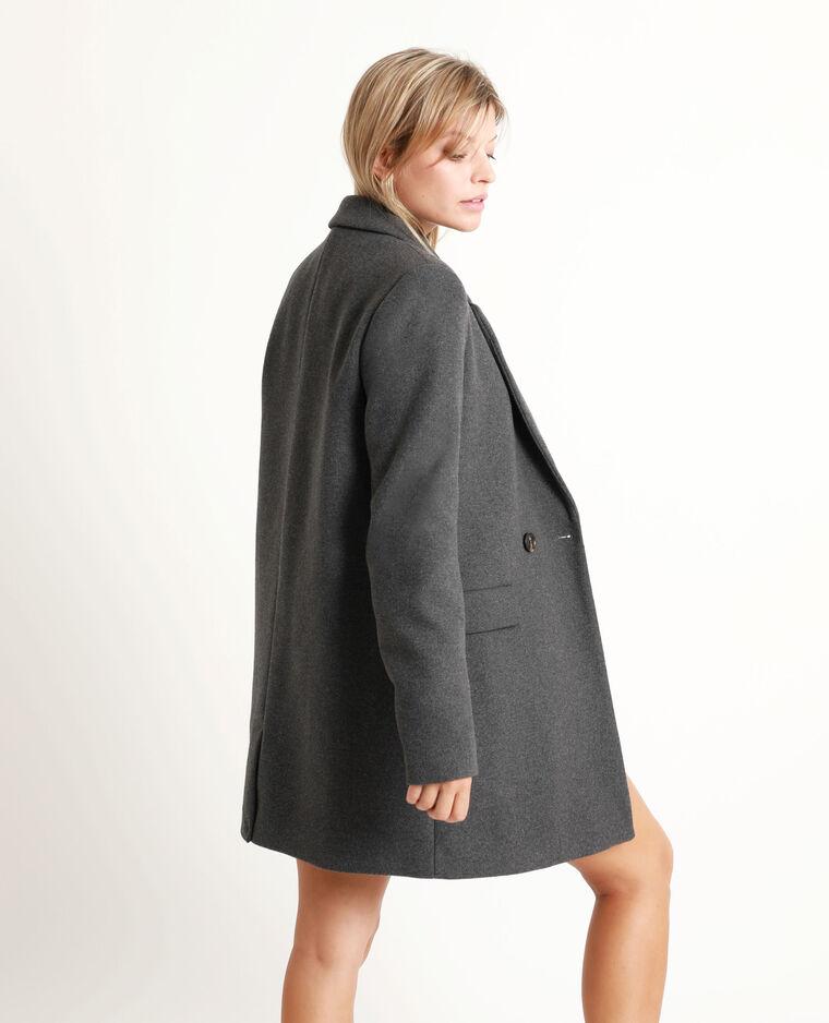 Manteau drap de laine gris anthracite