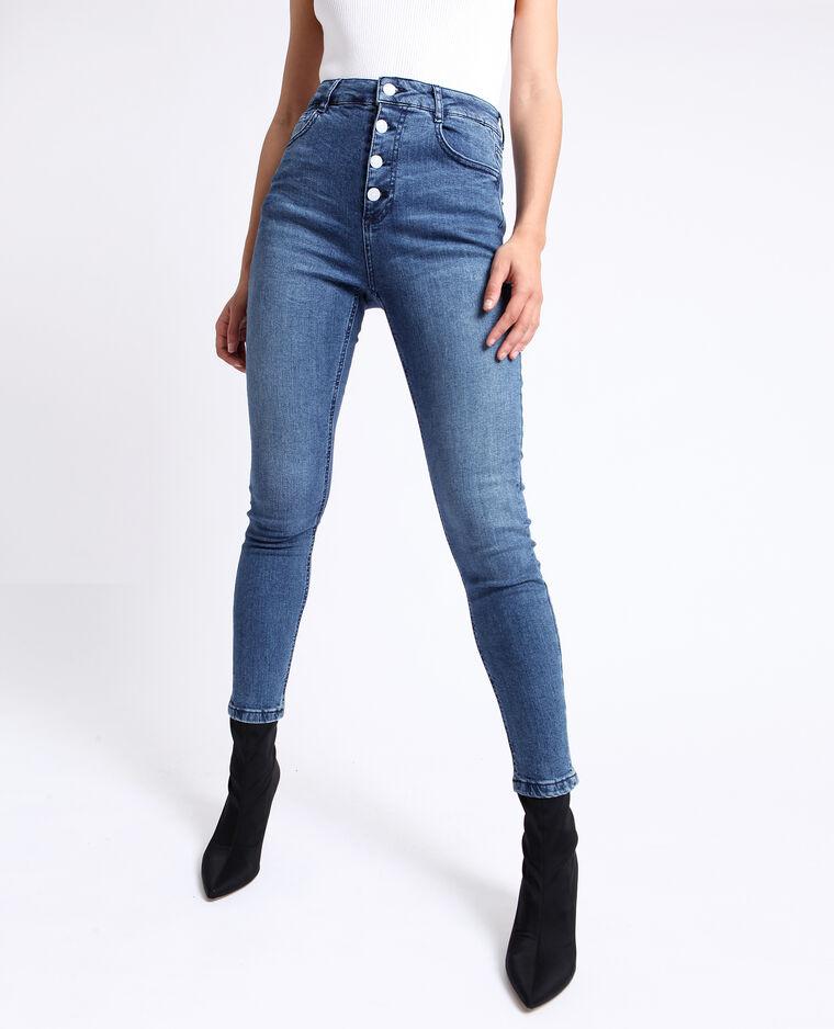 Jean skinny taille haute bleu brut
