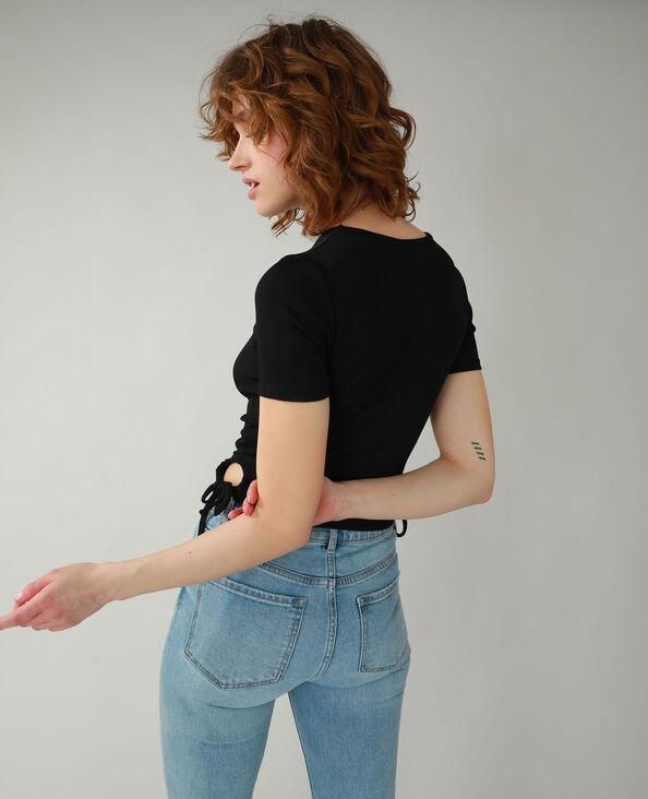 T-shirt van ribstof met veters zwart - Pimkie