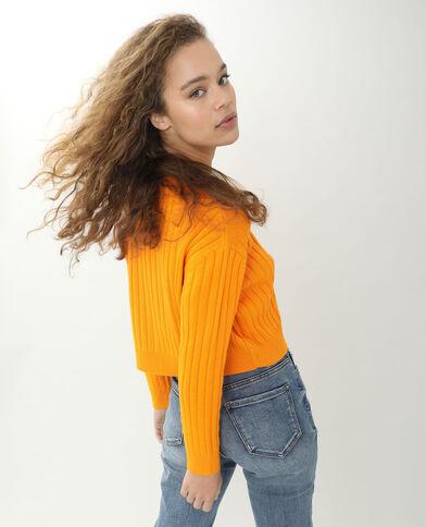 Vest van tricot met platte ribbels karamel - Pimkie