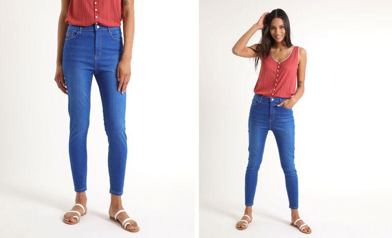 Skinny jeans met hoge taille hemelsblauw