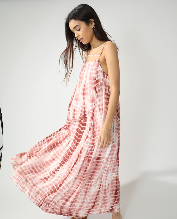 Lange tie-dye jurk kastanjebruin - Pimkie