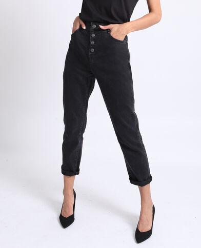 Rechte jeans met knopen zwart