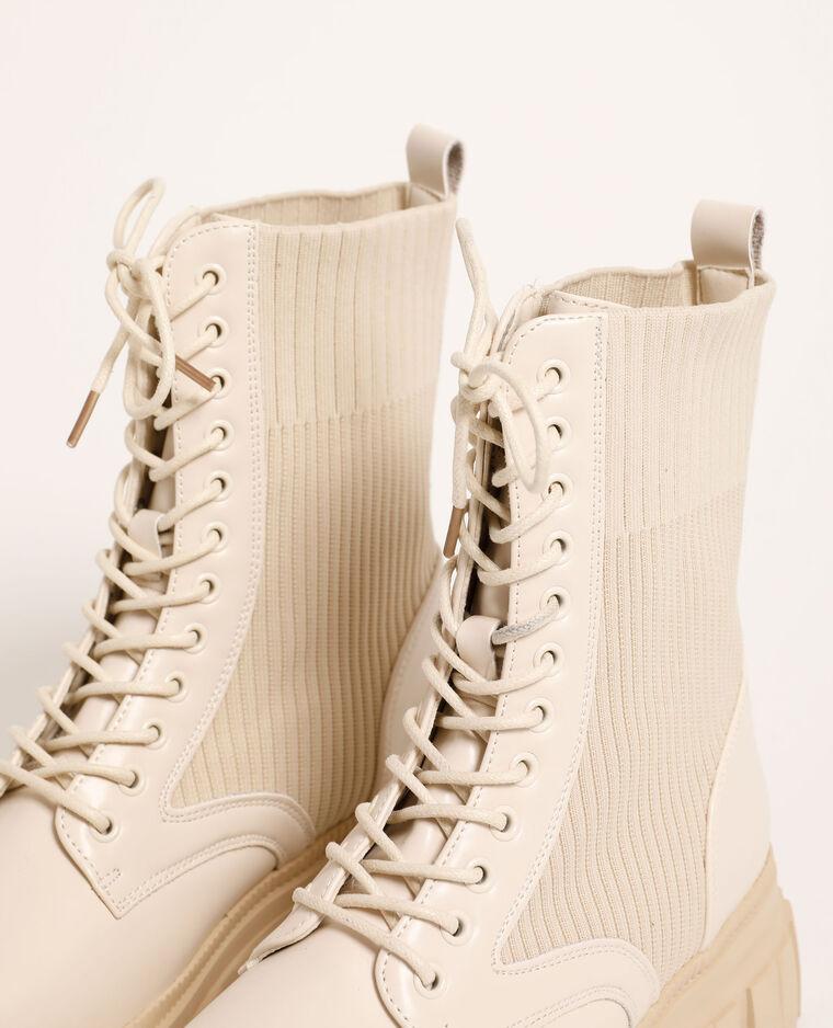 Boots en simili cuir écru - Pimkie