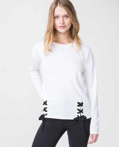 T-shirt met veters wit