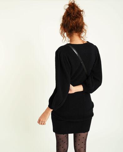 Trui-jurk met pofmouwen zwart