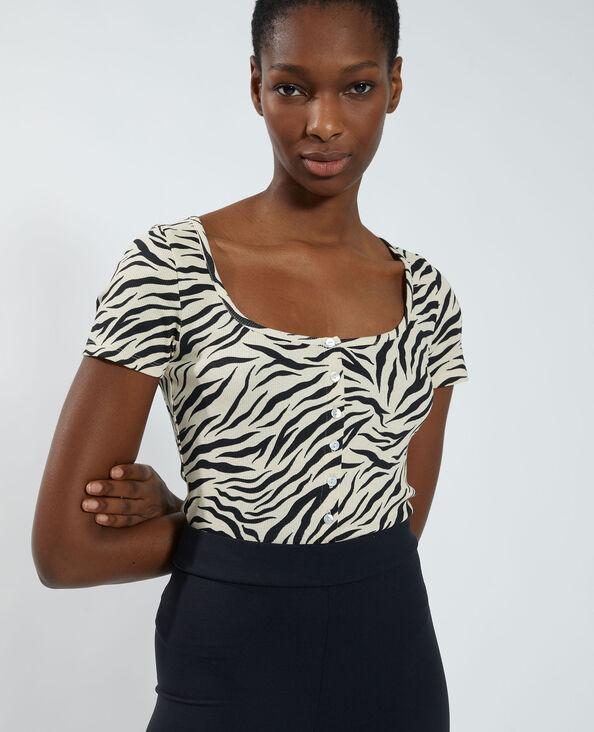 T-shirt boutonné et tigré beige - Pimkie