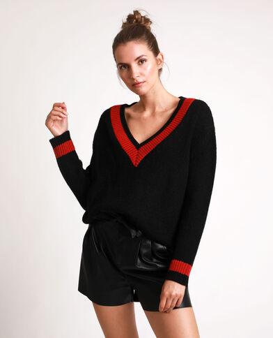 Contrasterende trui zwart