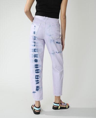Tie-dye momjeans met hoge taille denimblauw - Pimkie