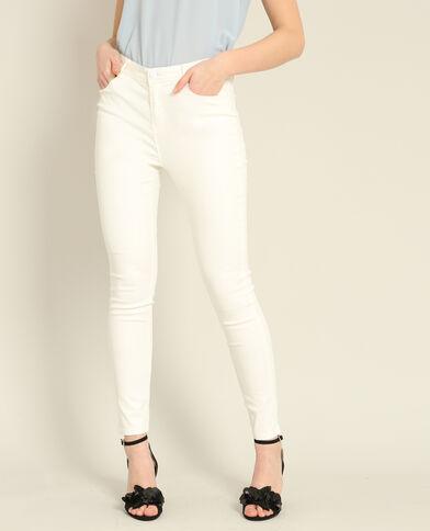 Pantalon skinny enduit blanc