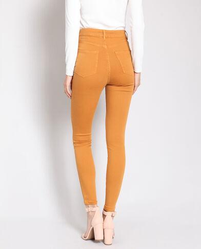Skinny broek met hoge taille bruin