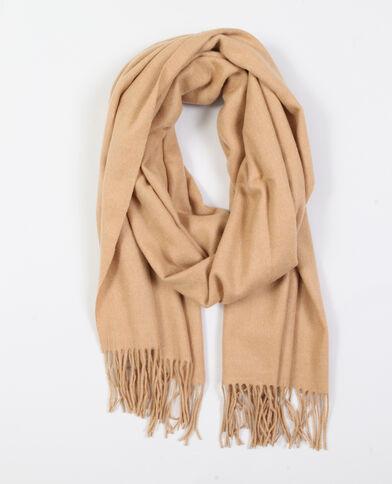 Sjaal met franjes beige