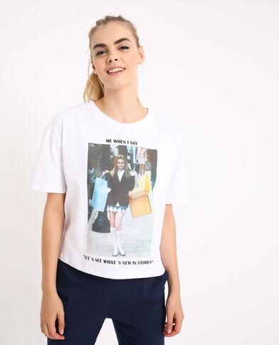 T-shirt met meme ecru