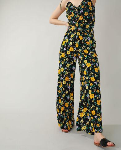 Wide leg broek met bloemen zwart - Pimkie