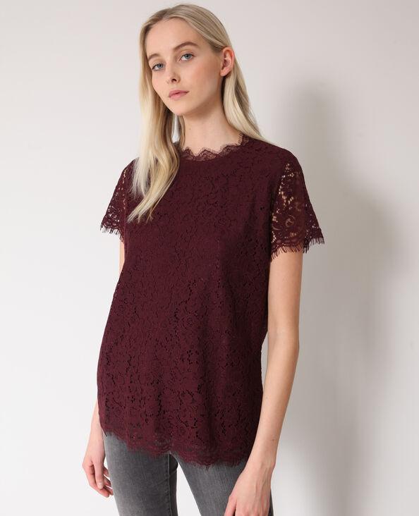 Kanten blouse bordeauxrood