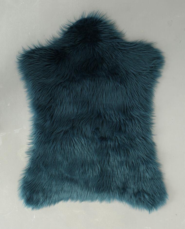 Tapis fausse fourrure bleu canard - 955094B36A06 | Pimkie