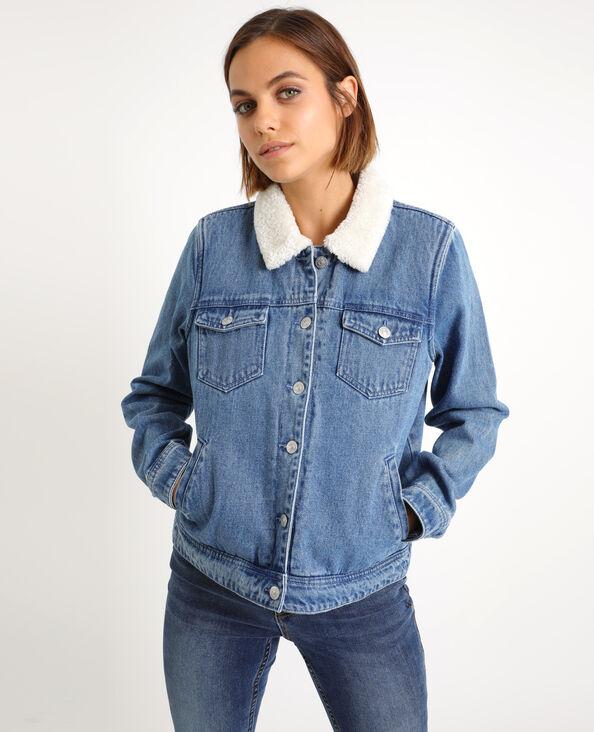 Gevoerd jeansjasje denimblauw