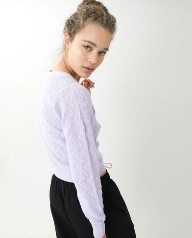 Gilet maille fantaisie violet