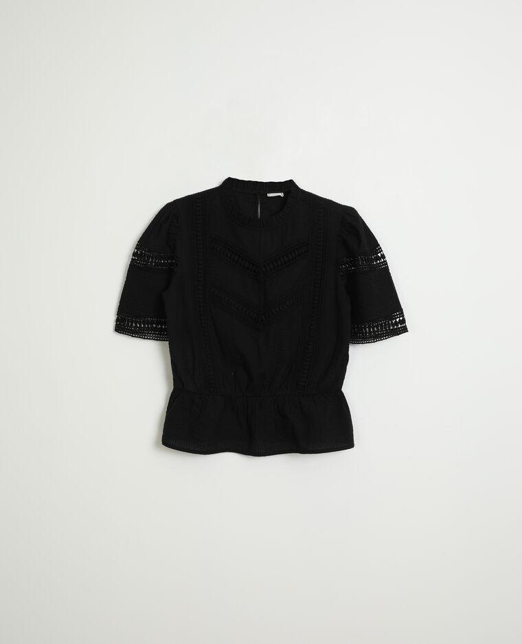 Blouse ajourée noir
