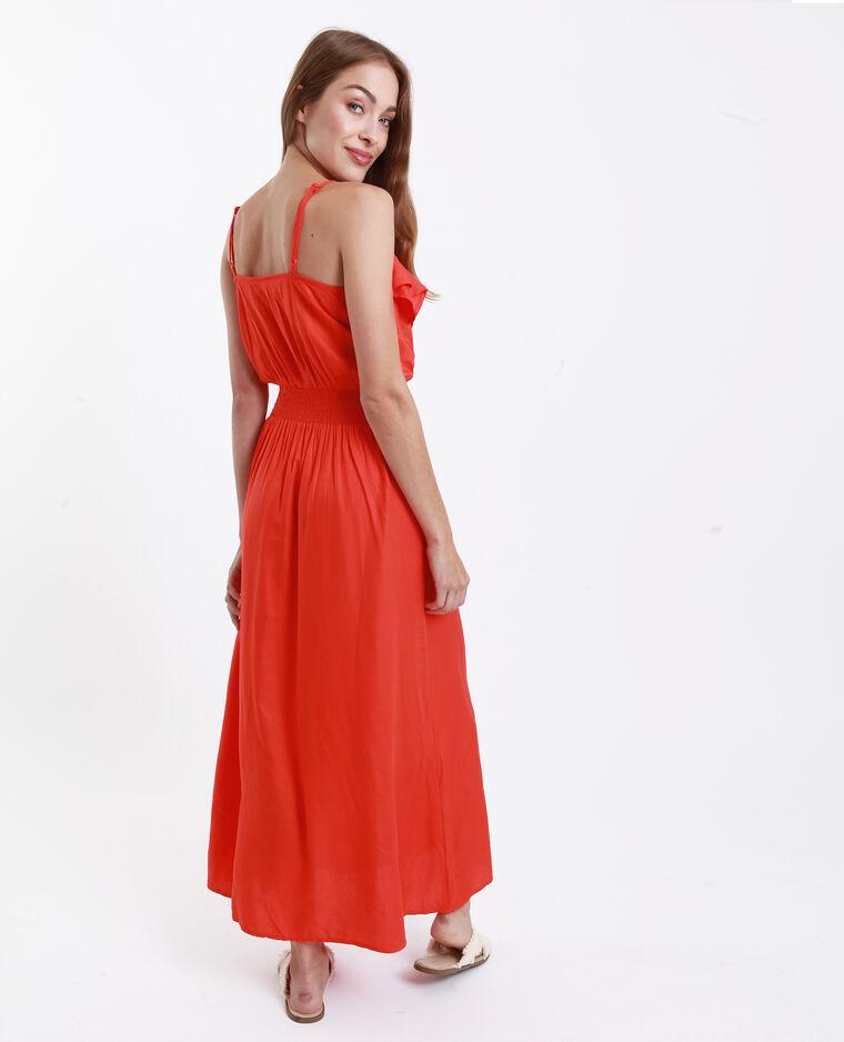 Lange jurk met ruche oranje