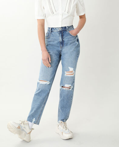 Jean mom high waist bleu denim - Pimkie