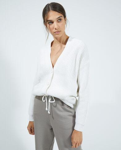 Cardigan van dik tricot wit - Pimkie