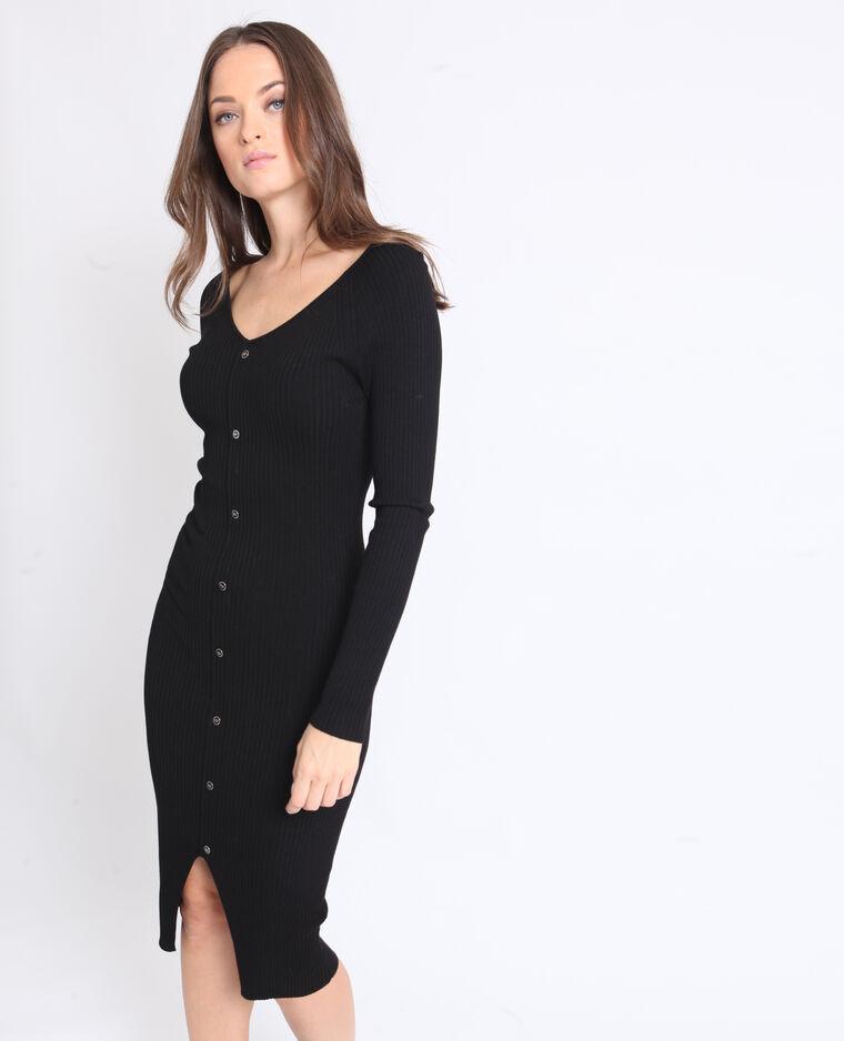 Robe longue à boutons noir