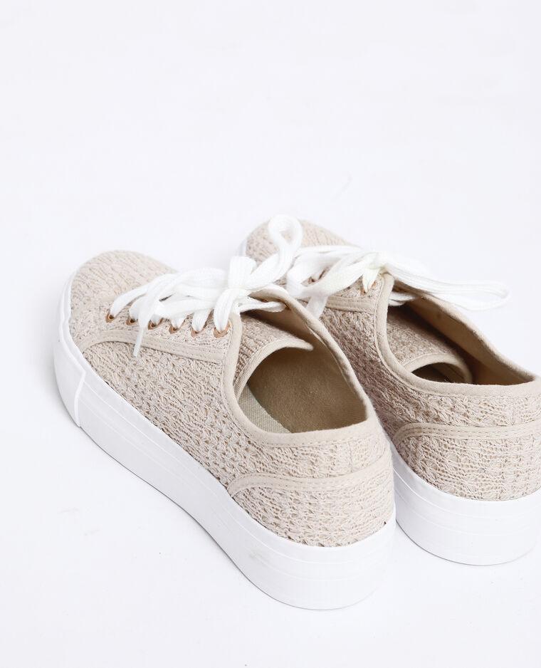 Sneakers met dikke zool beige