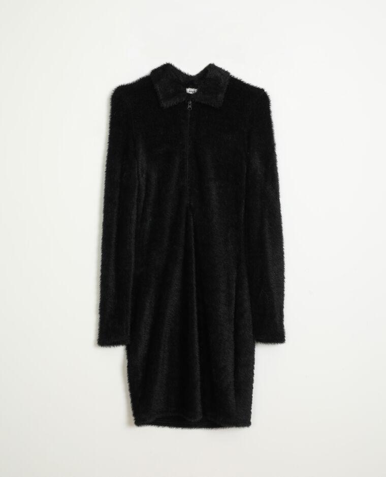 Robe maille poilue noir