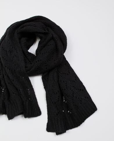 Opengewerkte sjaal zwart