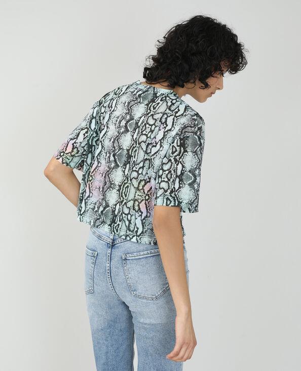 Cropped T-shirt met pythonmotief violet - Pimkie