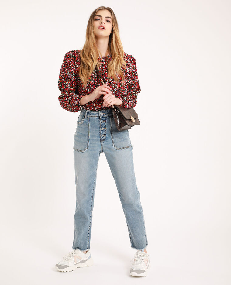Jean straight high waist bleu délavé - Pimkie