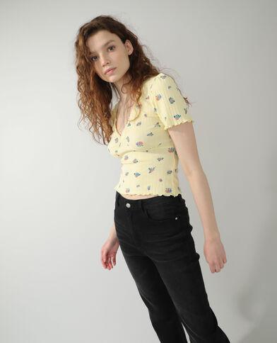 T-shirt motifs fleurs jaune - Pimkie
