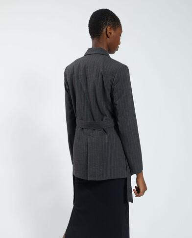 Oversized gestreepte blazer gemêleerd grijs - Pimkie