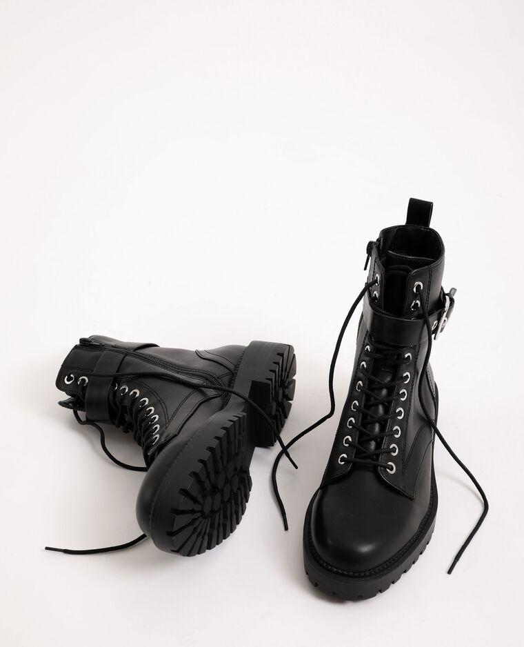 Boots en faux cuir noir