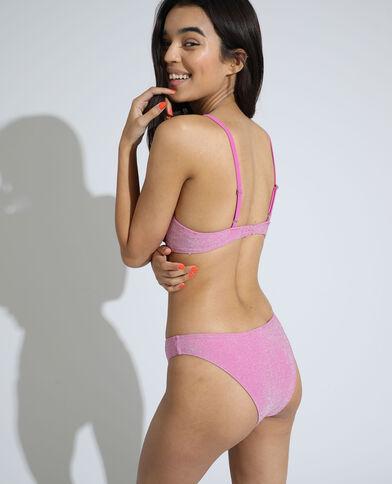 Haut de maillot corbeille pailleté rose
