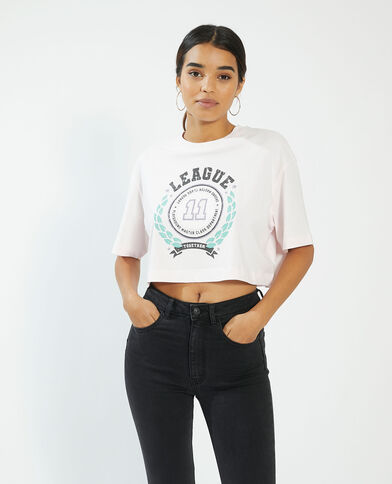 Cropped T-shirt roze - Pimkie
