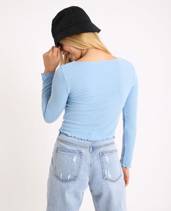 Kort shirt met lange mouwen blauw