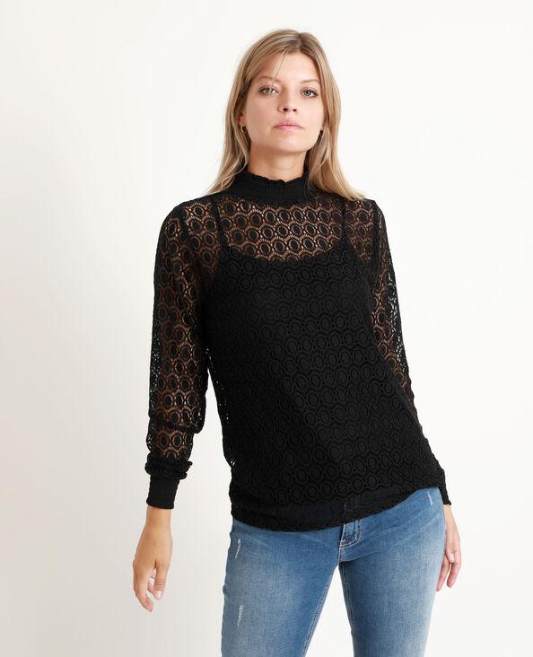 T-shirt met kant zwart